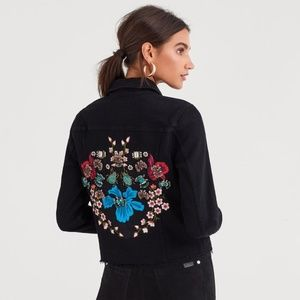 7 For All Mankind NWT Beaded Jewel Denim Jacket